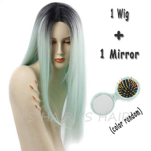 Female  Ombre Grey Synthetic Wigs