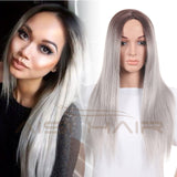 "26"" Women's Ombre Grey Synthetic Cosplay Wig"