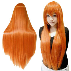 Women's Orange Wig Long Straight Cosplay Wigs