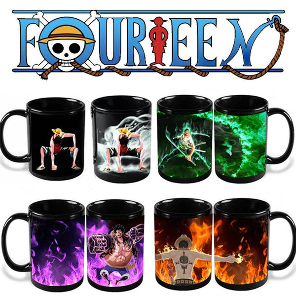 One Piece Luffy Zoro Ace Hot Changing Color Coffee Mugs Cup