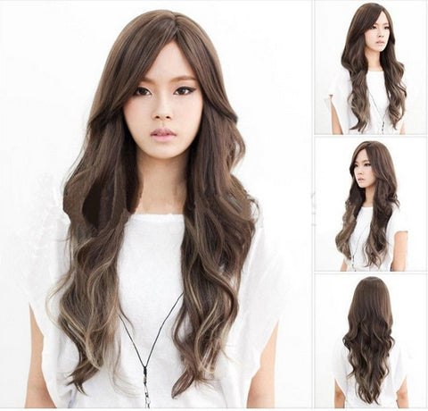 Women Fashion Sexy Natural Long Wavy Curly Synthetic Wigs