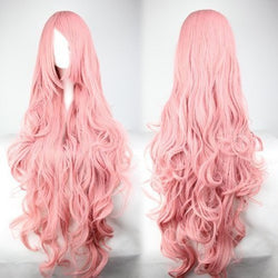 Fashion Pink Long Curly Big Wave Cosplay Wigs
