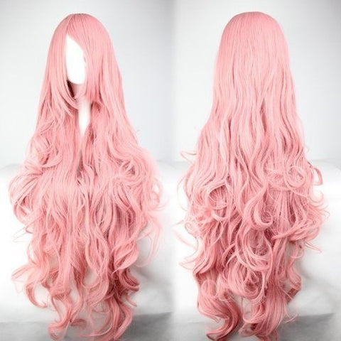 Pink Long Curly Anime Cosplay Wigs
