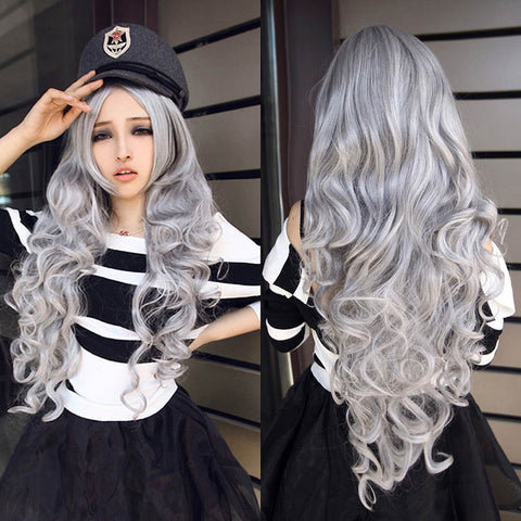 Women Stone gray Long Curly Wavy Cosplay Lolita Party Wig