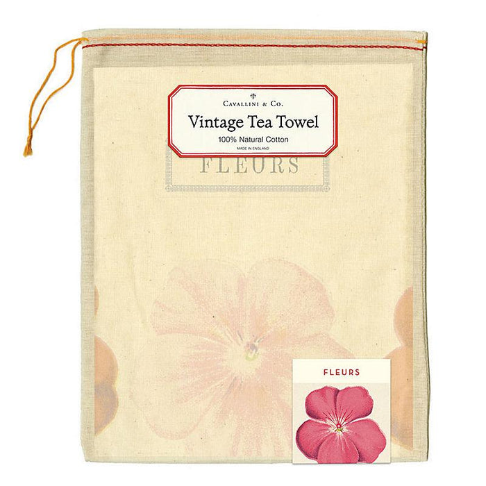 Fleurs Tea Towel - Cavallini Papers & Co. Inc - The Shops at Mount Vernon