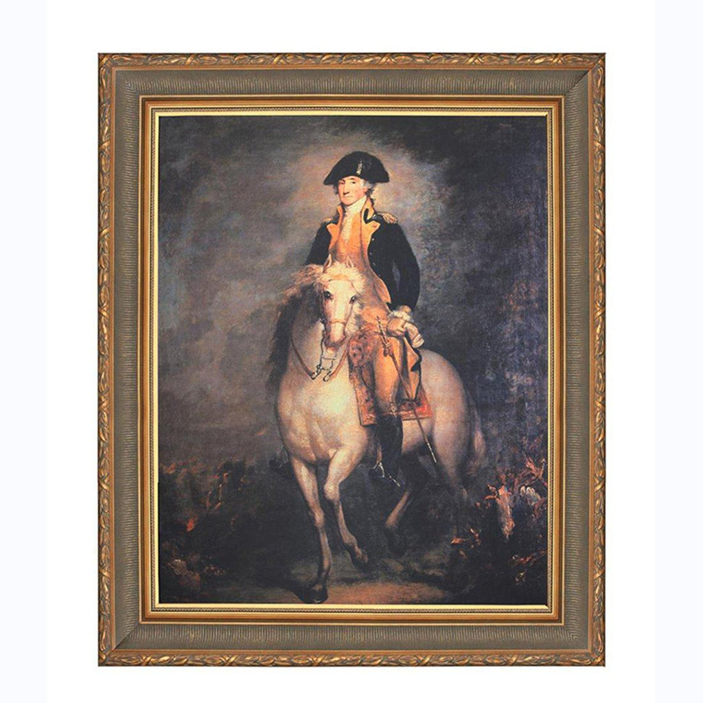 Washington on His Horse Antique Gold Framed Print