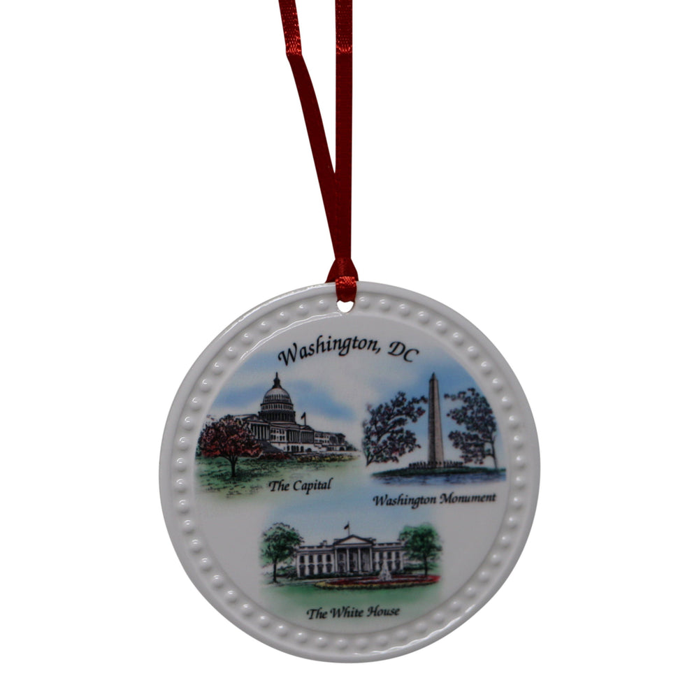 Washington D.C. Round Porcelain Ornament - BARLOW DESIGNS, INC. - The Shops at Mount Vernon