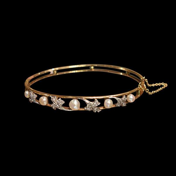 Gold Bangle Bracelet with Pearls and Diamonds