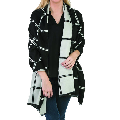 Black  & White Reversible Scarf - TOP IT OFF - The Shops at Mount Vernon