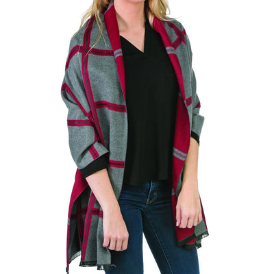 Dark Red  & Gray  Reversible Scarf or Wrap