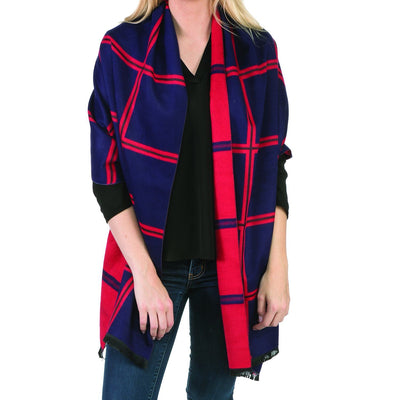Navy  & Red Reversible Scarf or Wrap
