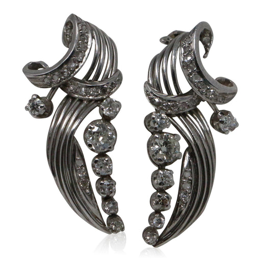 Diamond Leaf Earrings - THE ANTIQUE GUILD - The Shops at Mount Vernon