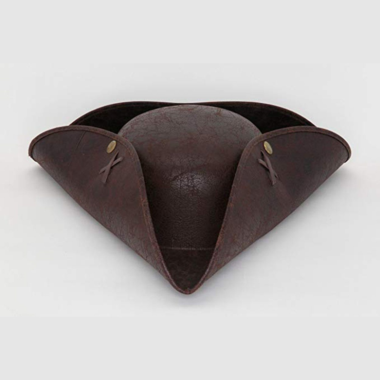 Faux Leather Brown Tri-cornered Hat