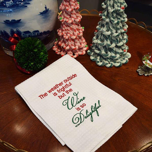 Wine is so Delightful Holiday Towel - C & F ENTERPRISE - The Shops at Mount Vernon
