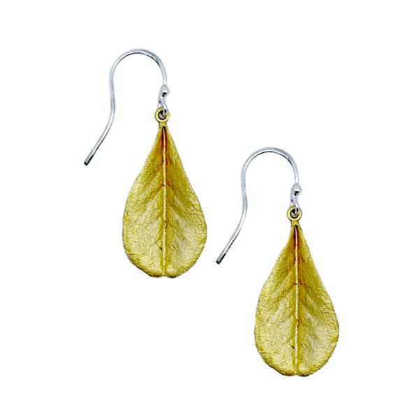 Blue False Indigo Gold Leaf Earrings - Silver Seasons - The Shops at Mount Vernon