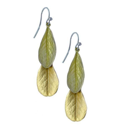 Blue False Indigo Two-Toned Leaf Earrings - The Shops at Mount Vernon - The Shops at Mount Vernon