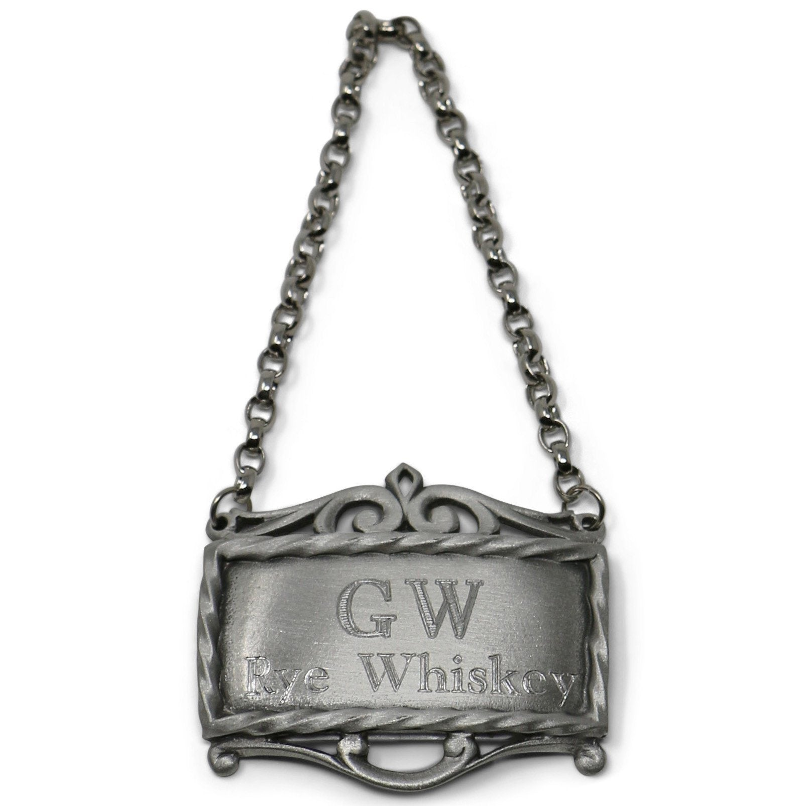 GW's Rye Whiskey Pewter Decanter Label