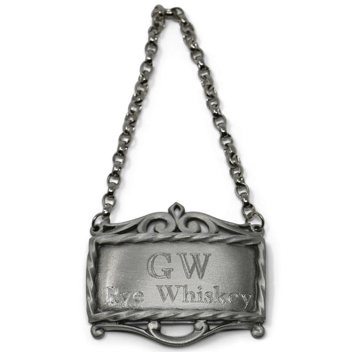 GW's Rye Whiskey Pewter Decanter Label - SALISBURY PEWTER - The Shops at Mount Vernon