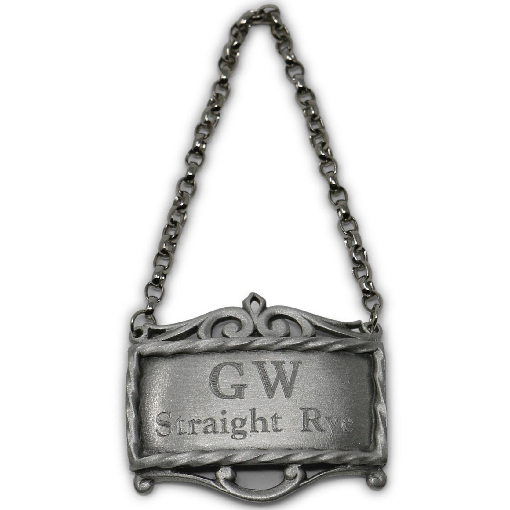 GW's Straight Whiskey Pewter Decanter Label