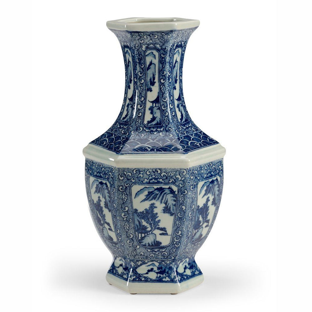 Chelsea House Blue and White Hexagon Vase - CHELSEA HOUSE - The Shops at Mount Vernon