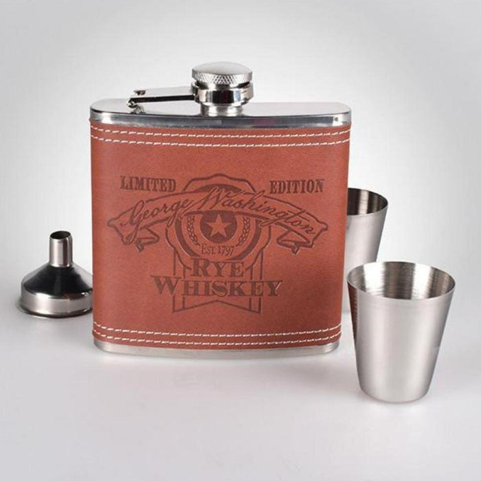 Rye Whiskey Brown Flask with Shot Glasses - DESIGN MASTER ASSOCIATES - The Shops at Mount Vernon