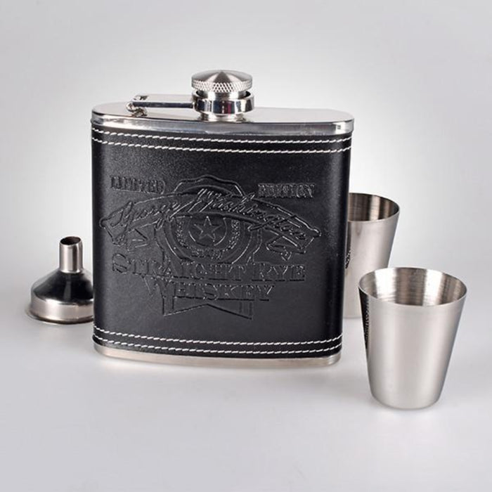 Straight Rye Whiskey Black Flask with Shot Glasses - The Shops at Mount Vernon - The Shops at Mount Vernon