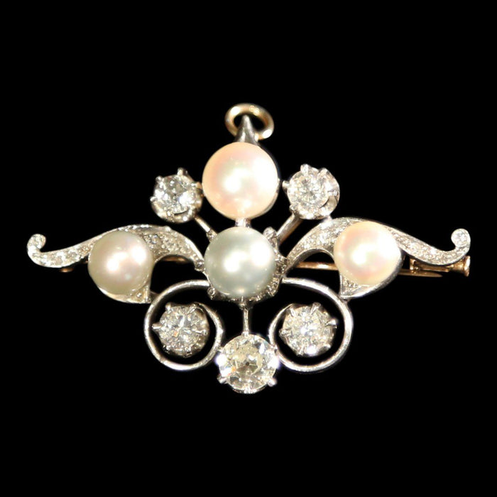 Diamond and Pearl Brooch - THE ANTIQUE GUILD - The Shops at Mount Vernon