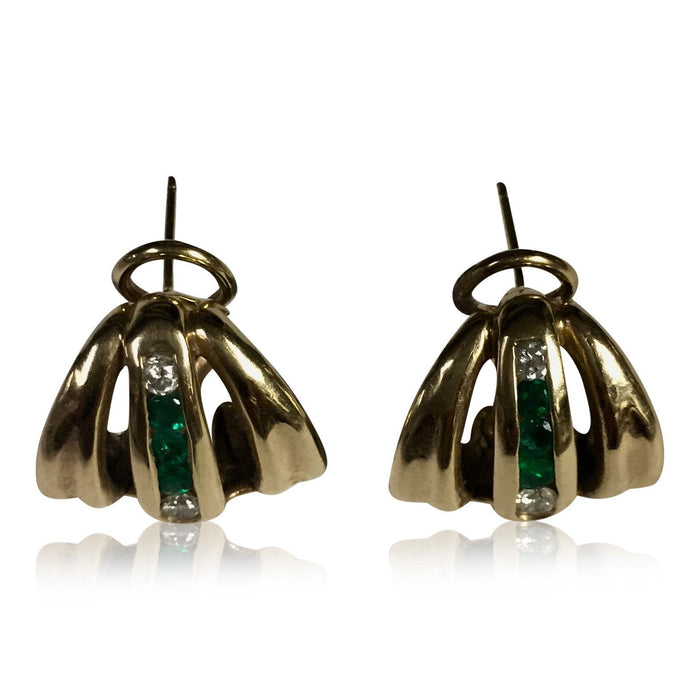 Emerald and Diamond Earrings - THE ANTIQUE GUILD - The Shops at Mount Vernon