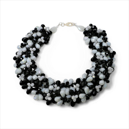 Jet Black and Milk Glass Milfiori Necklace - Valerie Sanson - The Shops at Mount Vernon