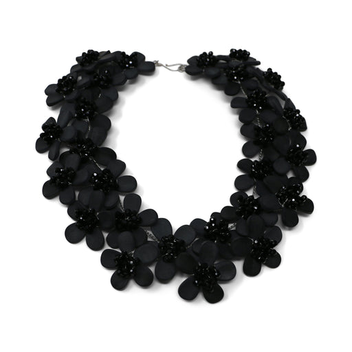 Matte Black Onyx and Crystal Collar Necklace - Valerie Sanson - The Shops at Mount Vernon