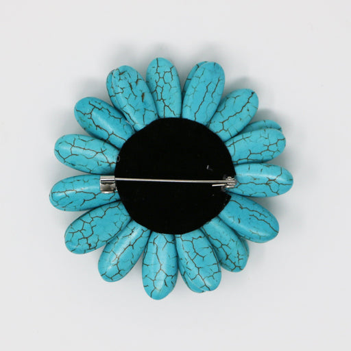 Turquoise Gerbera Pin - Valerie Sanson - The Shops at Mount Vernon