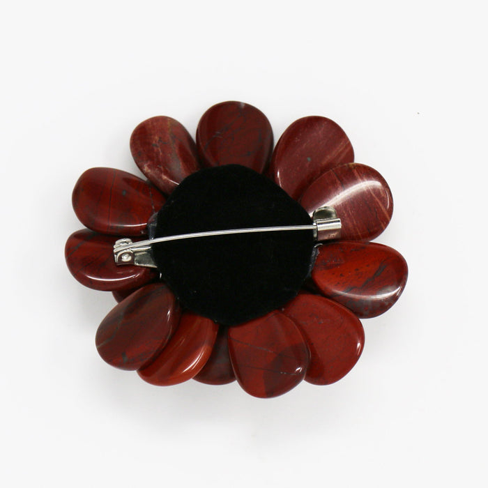 Red Agate Dahlia Pin - Valerie Sanson - The Shops at Mount Vernon