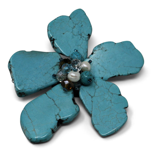 Modern Turquoise Daisy Pin - Valerie Sanson - The Shops at Mount Vernon