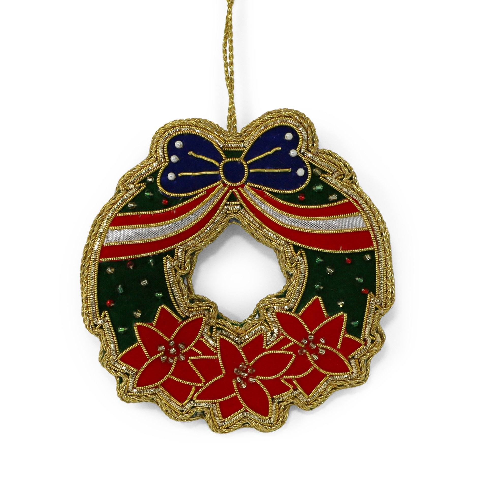 Poinsettia Wreath USA Ornament