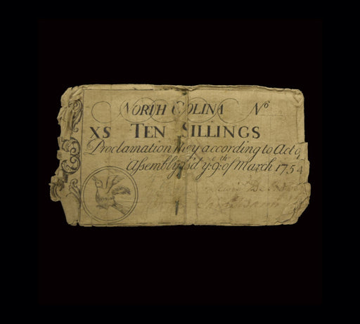1754 North Carolina 10 Shilling Note - DAVID CONSOLVO - The Shops at Mount Vernon