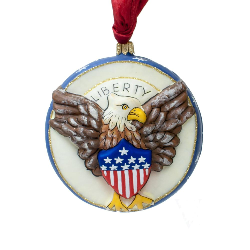 Vaillancourt Folk Art American Eagle Ornament