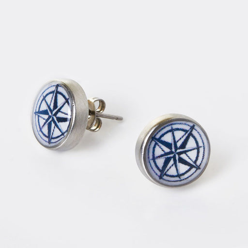 Compass Rose Stud Earrings - Chart Metalworks - The Shops at Mount Vernon