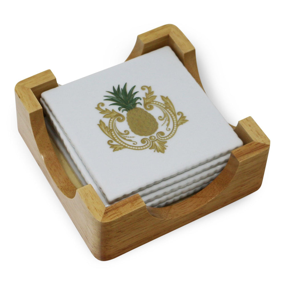 Set of Six Charlotte Moss Pineapple Coasters - Pickard China - The Shops at Mount Vernon