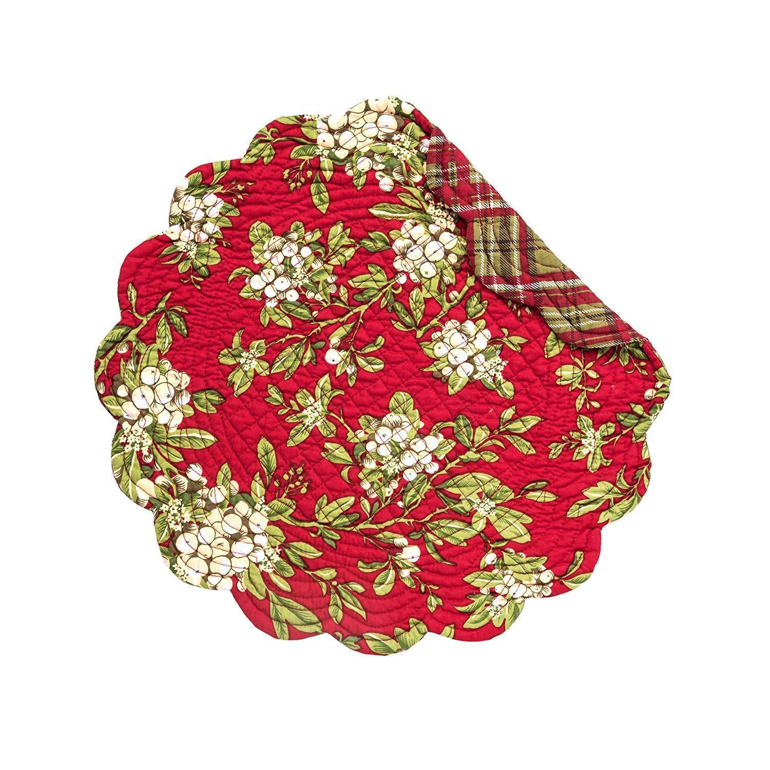 Mistletoe Leaves Round Placemat