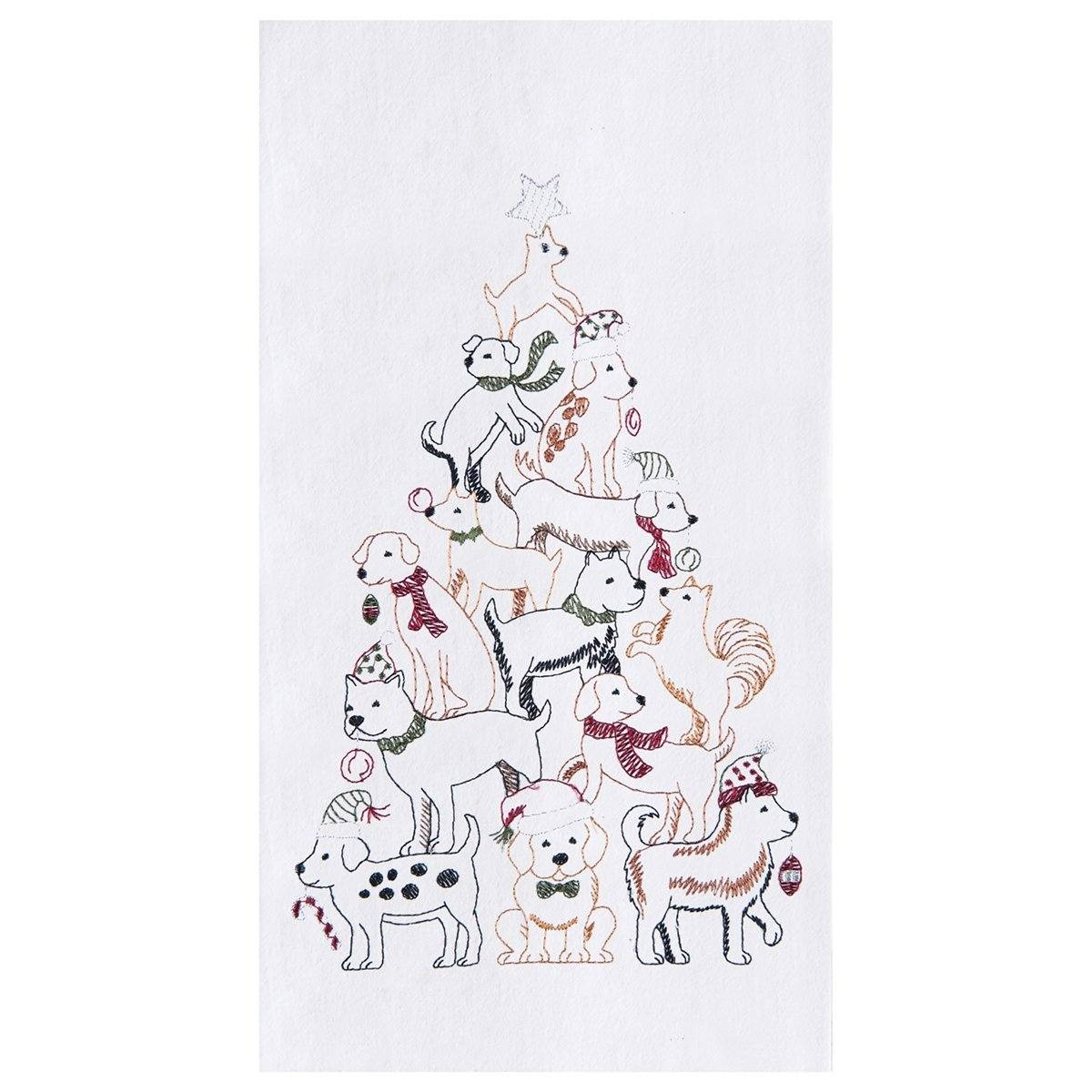 Puppy Christmas Tree Towel