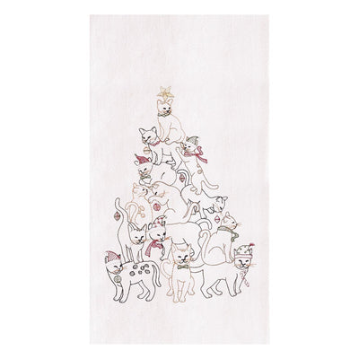 Cat Christmas Tree Towel