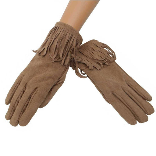 Tan Fringe Gloves - Trezo via MeraVic - The Shops at Mount Vernon