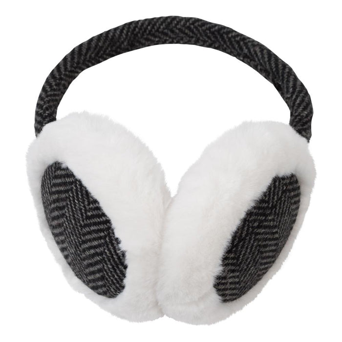 Black & White Herringbone Earmuffs - TOP IT OFF - The Shops at Mount Vernon