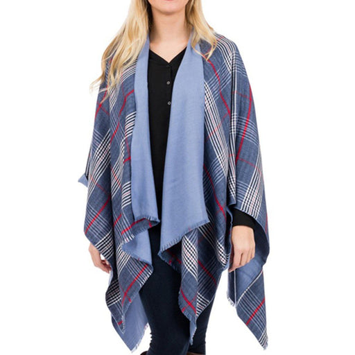Blue Plaid Ruana - TOP IT OFF - The Shops at Mount Vernon