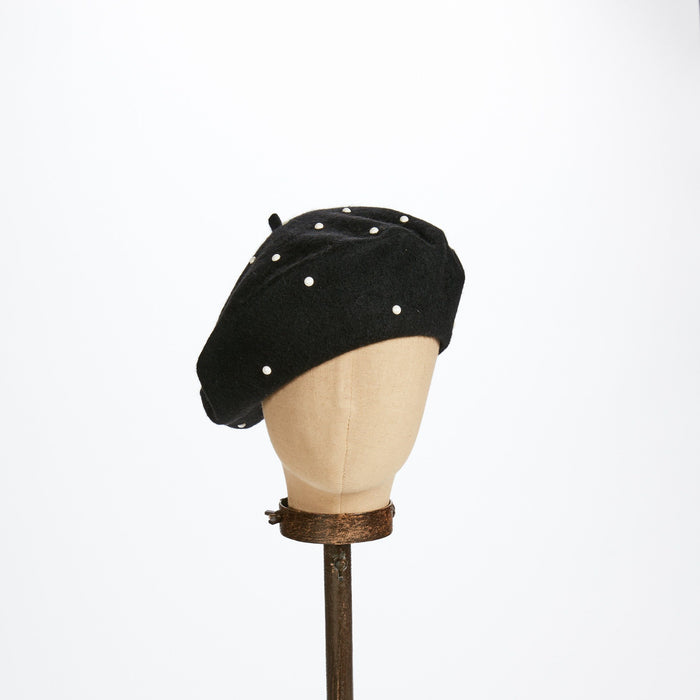Black Beret with Pearls - Kathy Jeanne Inc - The Shops at Mount Vernon