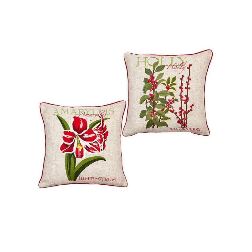 Set of Two Holiday Botanical Pillows