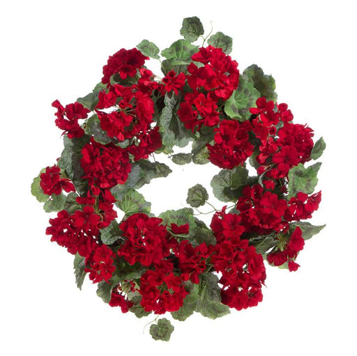 "Geranium 22"" Wreath - RAZ IMPORTS INC - The Shops at Mount Vernon"
