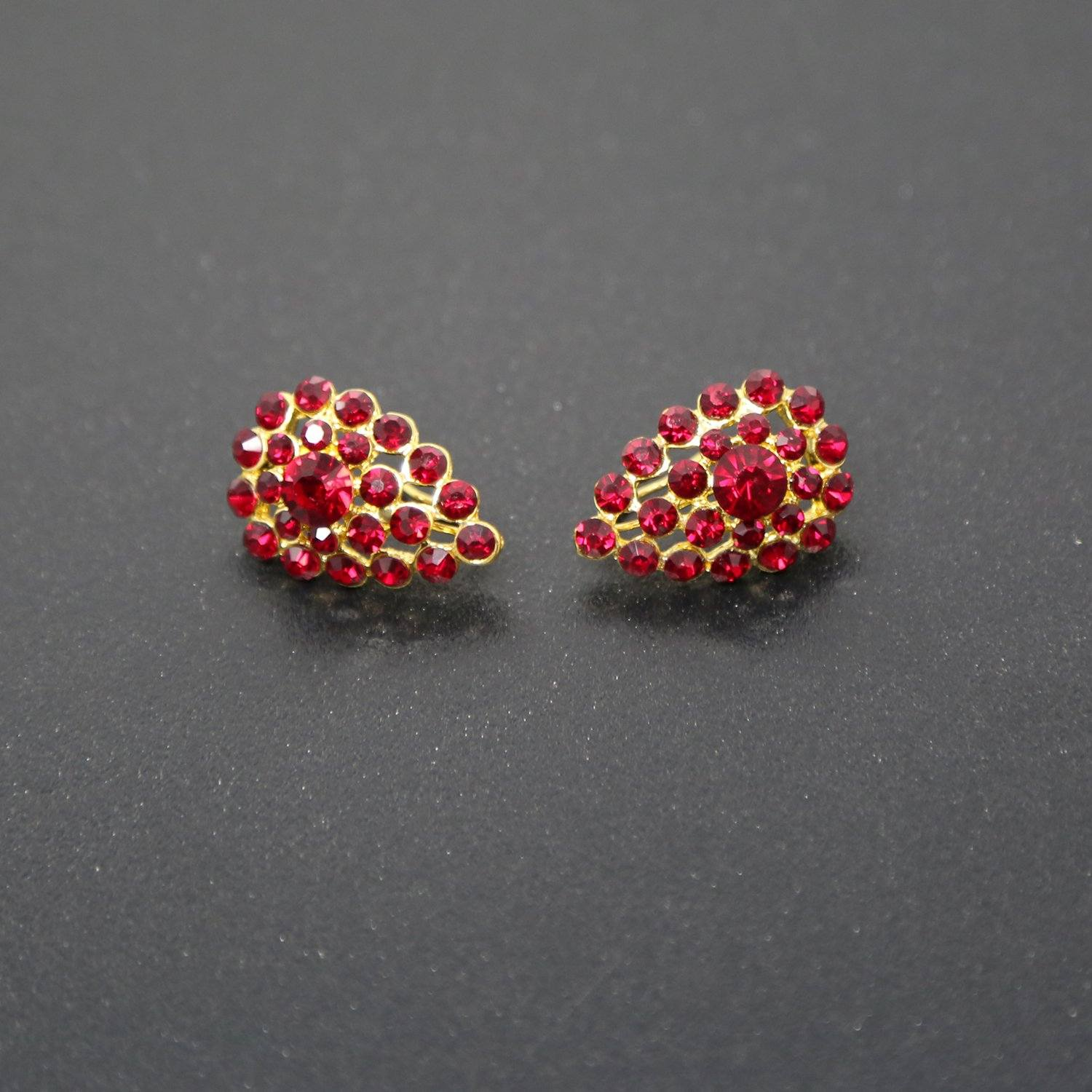 Martha's Garnet-Colored Rhinestone Earrings