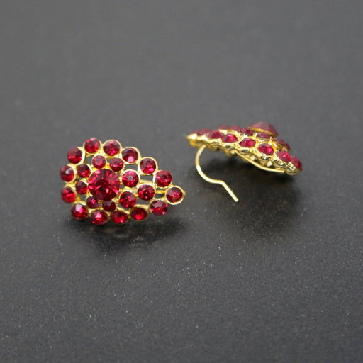 Martha's Garnet-Colored Rhinestone Earrings - At the Sign of the Gray Horse - The Shops at Mount Vernon