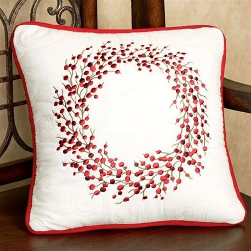 Berry Wreath Square Pillow - C & F ENTERPRISE - The Shops at Mount Vernon